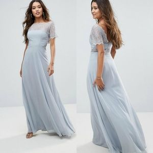 Asos Dove Grey Lace Insert Panelled Maxi Dress